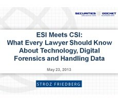 May 23 Webcast: ESI Meets CSI — What Every Lawyer Should Know About  Technology, Digital Forensics and Handling Data