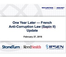 Feb. 27 Webcast: One Year Later — French Anti-Corruption Law (Sapin II) Update