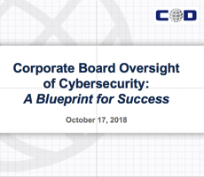 Oct. 17 Webcast: Corporate Board Oversight of Cybersecurity — A Blueprint for Success