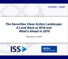 Feb. 21 Webcast — The Securities Class Action Landscape: A Look Back at 2018 and What's Ahead in 2019